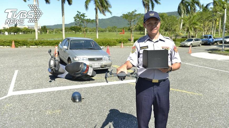 圖/中央社 空拍機投入車禍蒐證 確保安全提升效率