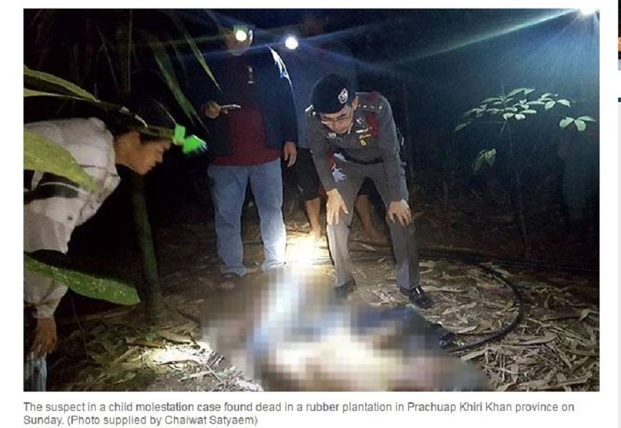 泰國一名男子涉嫌性侵6歲女童未遂,事後遭對方的父親開槍打死。(圖/翻攝自曼谷郵報) 6歲女兒遭性侵 父開槍射爆惡狼頭