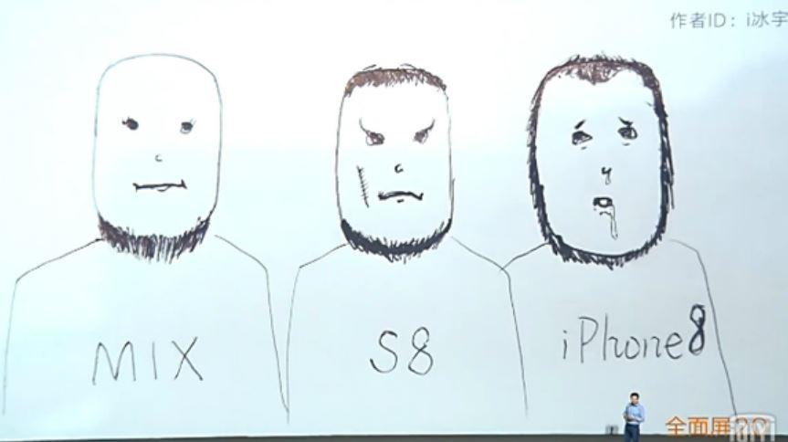 小米於MIX2發表會現場,用三個留著絡腮鬍的男人,來詮釋不同手機呈現全螢幕的方式。取自網路 好酸!小米用這張漫畫 嗆聲i8全螢幕