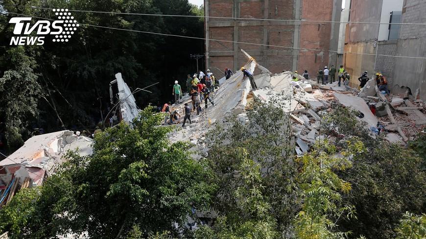 圖/達志影像路透社 墨西哥強震增至226死 坍塌小學30童失蹤