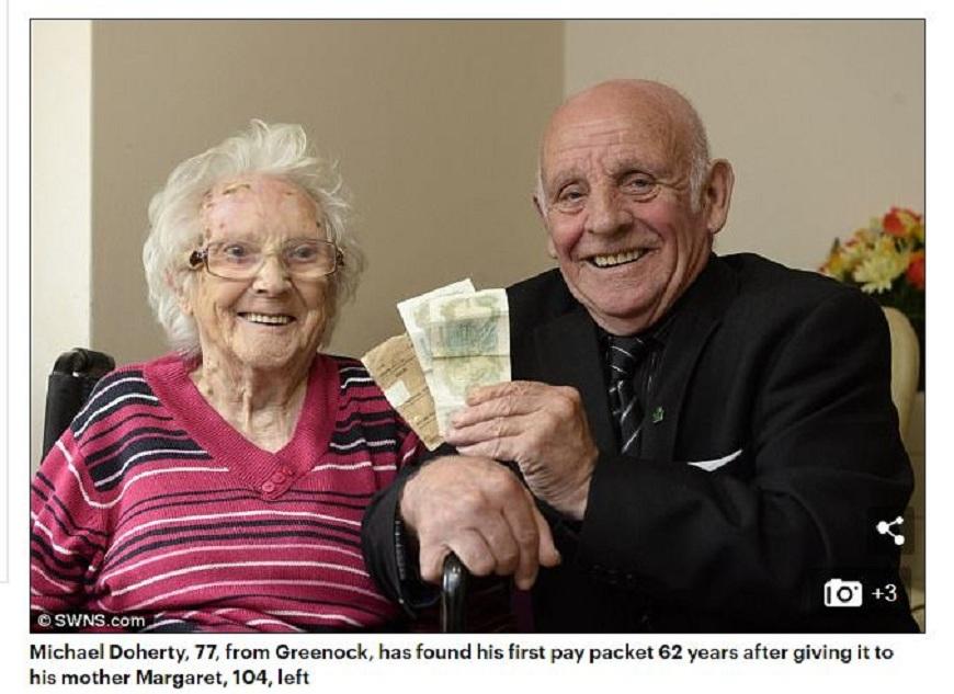 英國一名77歲的老翁看到62年前首份打工的薪資被母親保存的完好如出,母子倆都開心不已。(圖/翻攝自每日郵報) 兒62年前首份薪水保存至今 「媽幫你存」沒騙人
