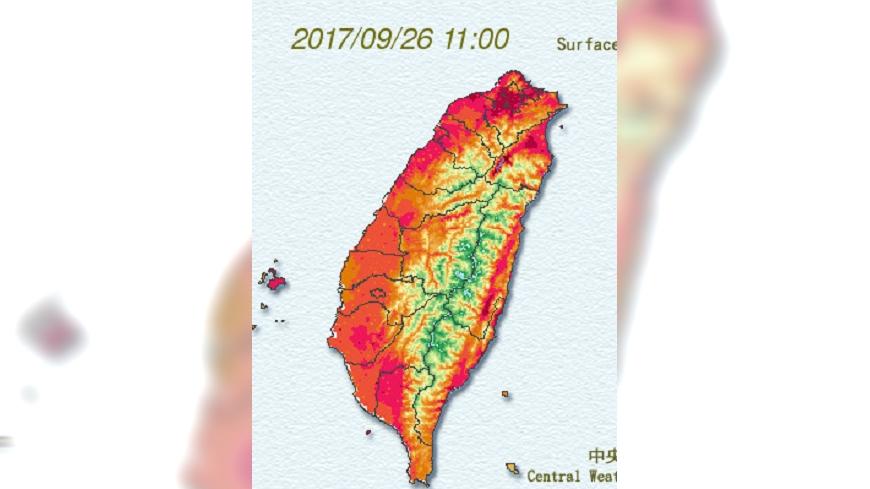 圖/翻攝自中央氣象局網站 連日高溫熱到不像秋天 週四傍晚起變天