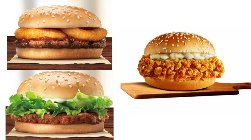 圖/翻攝漢堡王臉書、肯德基提供 小資族照過來!全都99元 雙堡優惠PK不辣咔啦堡