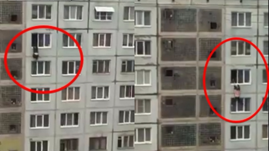 圖/擷取自liveleak 和女友吵架!男「苦肉計」威脅 體力不支墜7樓亡