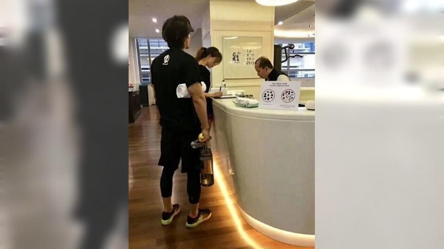 圖/翻攝自微博 林志玲同框言承旭 被目擊一起上健身房