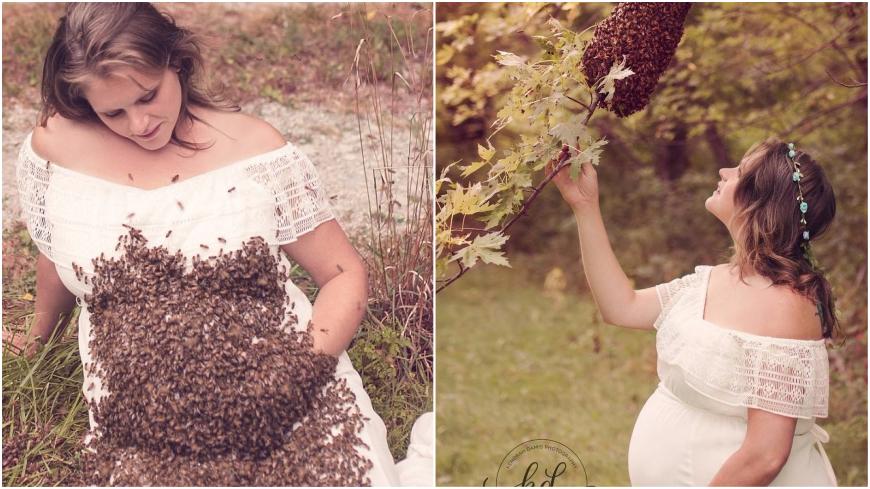 圖/Emily Mueller臉書 拍懷孕美照「萬蜂圍肚」被螫 預產期前胎死腹中