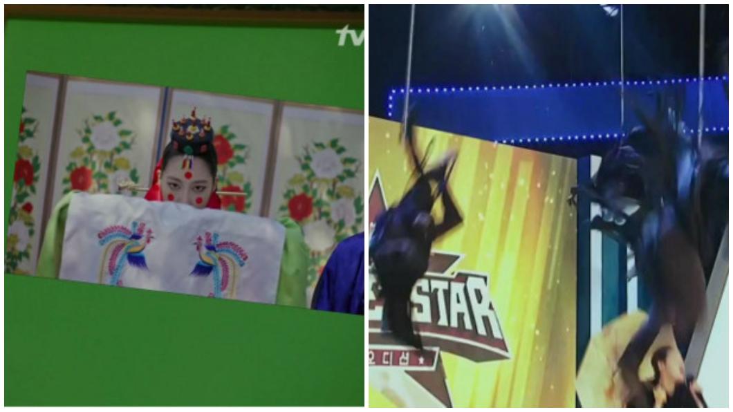 綠幕和鋼絲都穿幫。圖/擷取自tvN