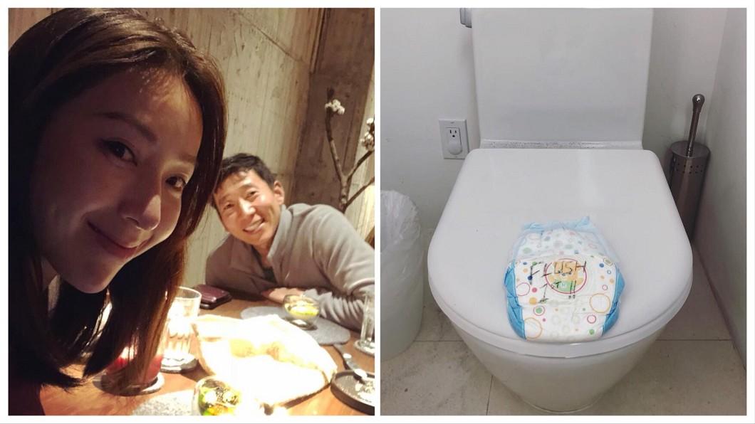 圖/翻攝自隋棠臉書 隋棠老公用「尿布」留言給嬌妻 背後原因被讚爆!