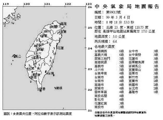 圖片來源/國家地震中心網站
