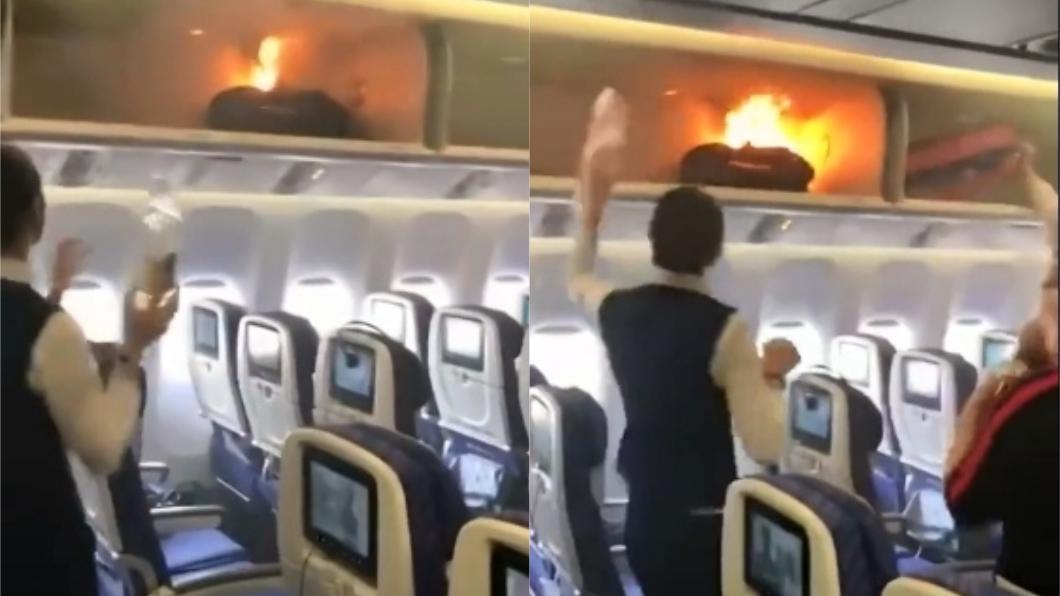 圖/截自YouTube,下同。 乘客行動電源起火 空姐嚇壞急丟水瓶