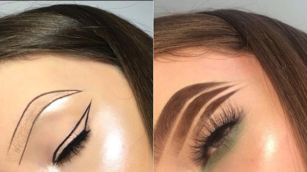 Hannah的美妝創意常有驚人之舉,除了倒C眉還有空心眉、三層眉。圖/翻攝自hannahdoesmakeupp Instagram