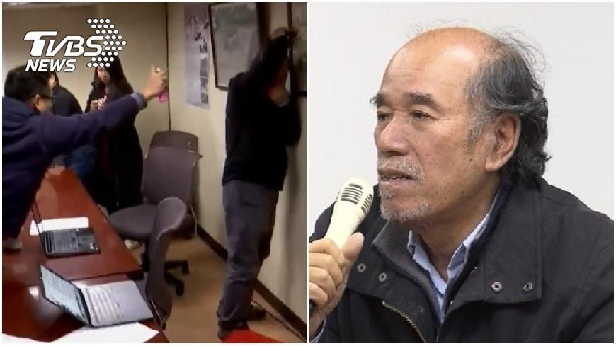 台灣北社獨派團體的記者會中,遭到3名統派團體成員硬闖,還朝向蔡丁貴噴灑不明液體。圖/TVBS  蔡丁貴遭噴生髮劑 統派成員怒嗆「他沒有頭髮」被逮