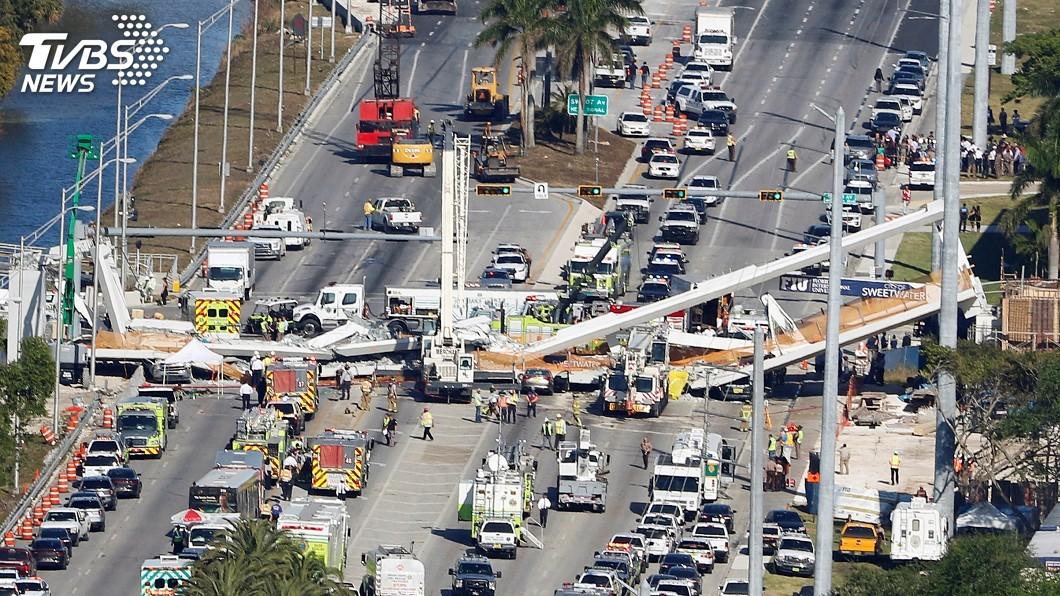 圖/達志影像路透社 佛州天橋號稱屹立百年 竣工5天塌落釀4死