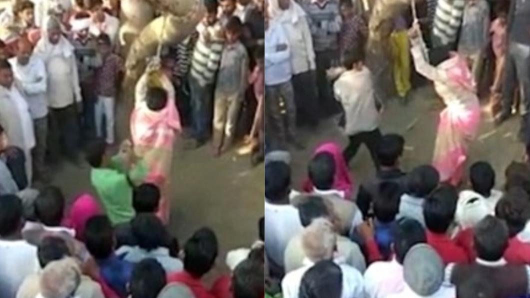 印度一名妻子被丈夫鞭打超過100下,作為外遇行為的懲罰。圖/英國每日郵報