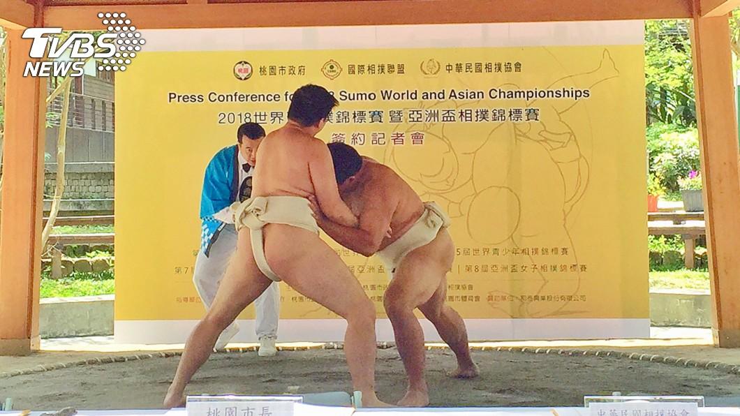 圖/中央社 2018相撲錦標賽簽約 7月登場桃園巨蛋