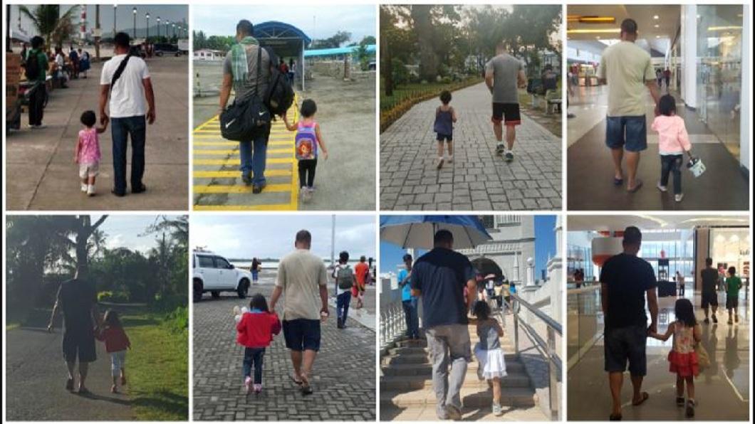 菲律賓一名婦人分享了丈夫和女兒的牽手背影照,當中充滿洋蔥。(圖/翻攝自Reddit) 母連4年偷拍「父女牽手背影照」 秘密計畫讓人哭了