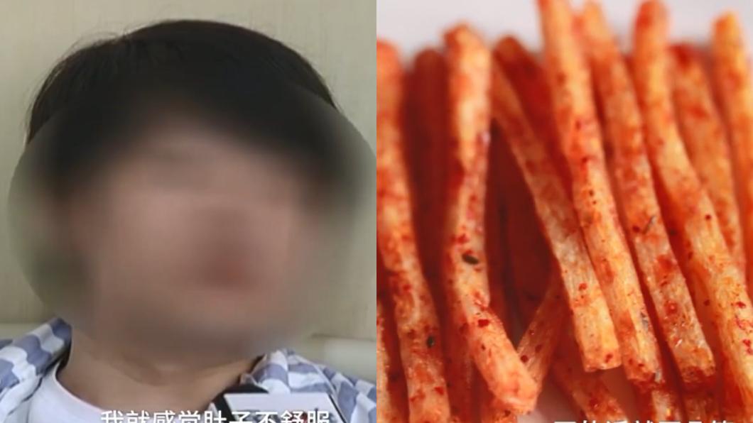 圖/翻攝自梨視頻 把零食「辣條」當飯吃 24歲男大生腸穿孔險喪命