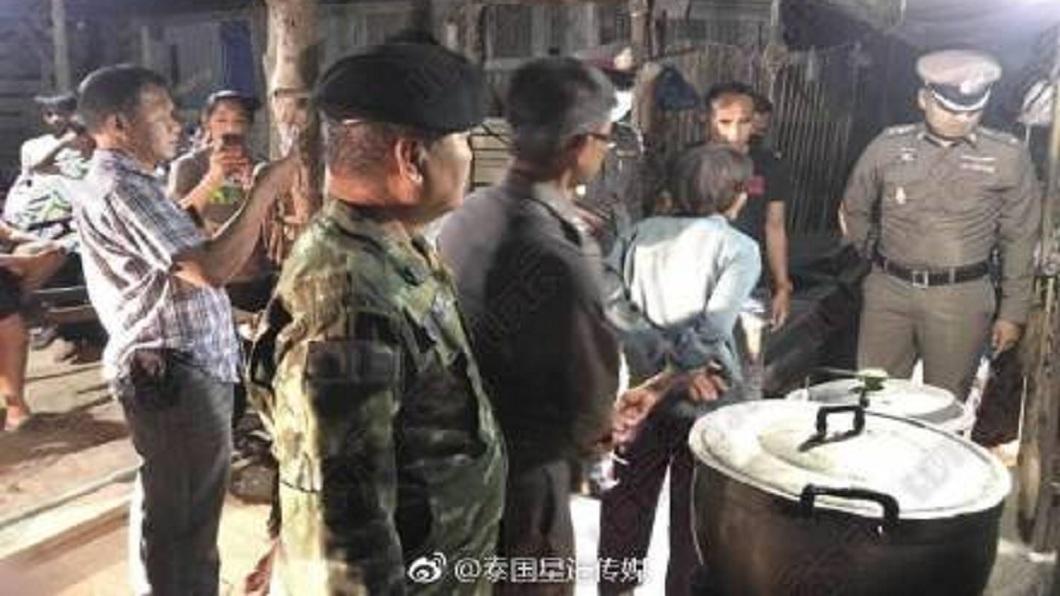 警方接獲報案後,將這名婦人帶回警局偵訊並移送法辦。(圖/翻攝自泰國星暹傳媒微博)