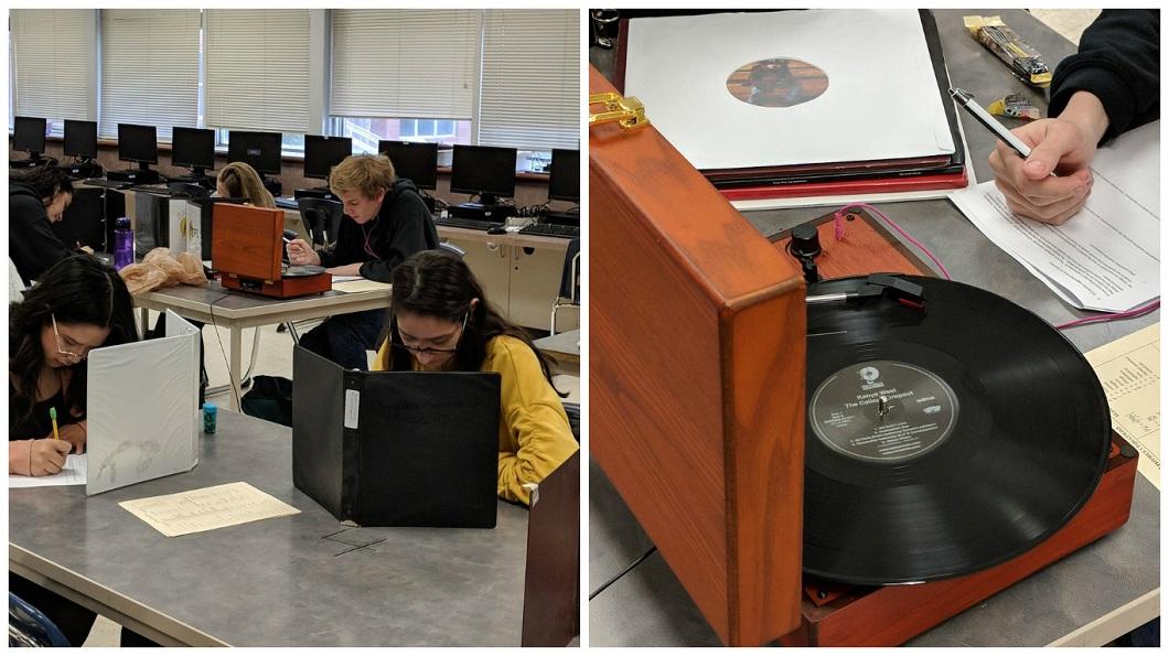 有學生在物理期中考時聽黑膠唱片,讓老師看了傻眼,但事後老師表示這名學生考得很不錯。(圖/翻攝自推特) 狂!男同學物理期中考 搬黑膠唱片機「邊聽邊應試」