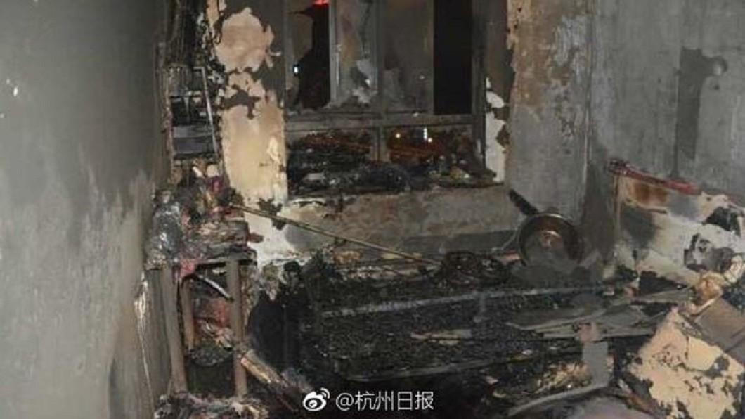 李女在租屋處燒炭輕生。圖/翻攝杭州日報