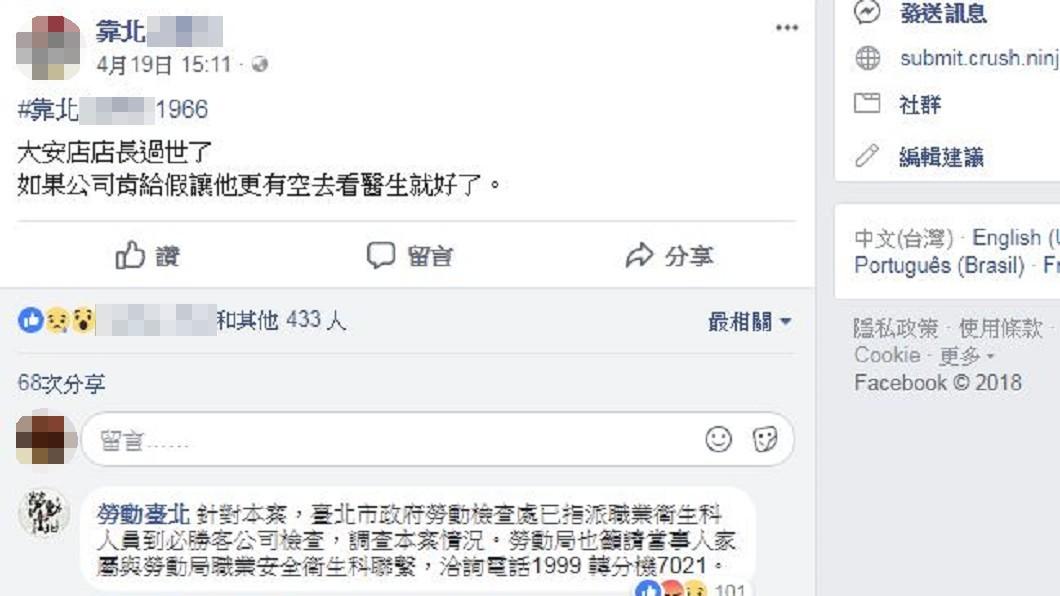 網友在臉書爆料店長病逝。圖/翻攝臉書