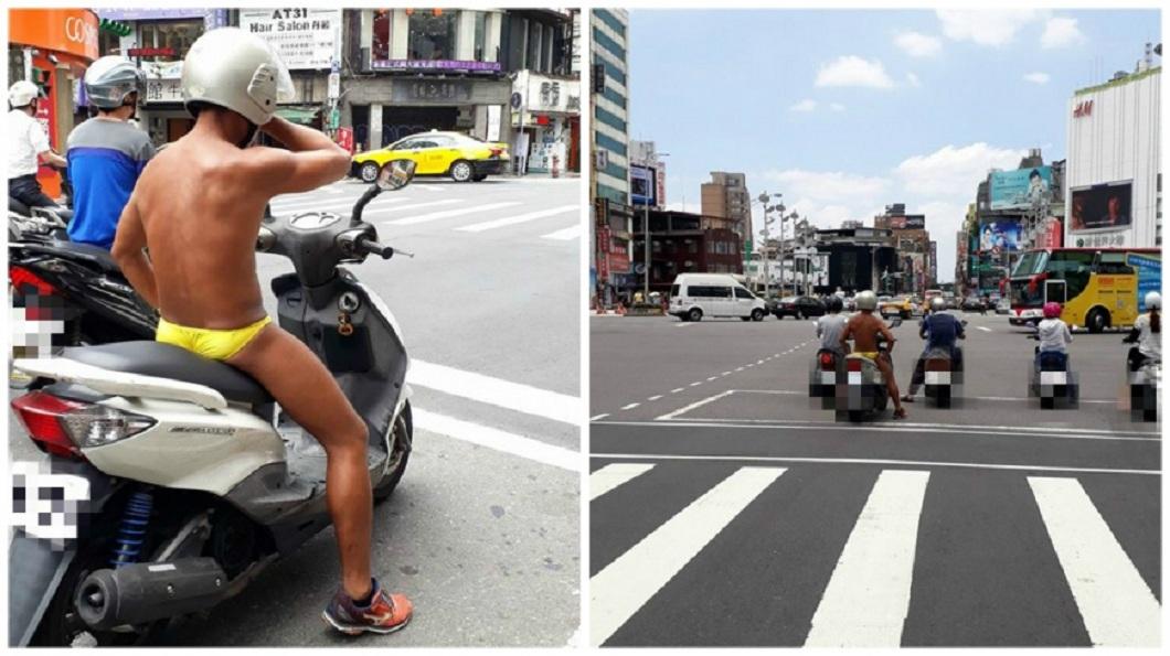去年8月在西門町街頭,有民眾拍到一名全身僅穿著黃色小褲褲的男騎士。(圖/翻攝自爆料公社)