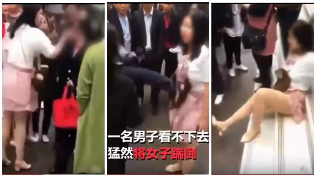 四川一名女子在大街上掌摑母親,有路人看不下去,一腳把女子踹倒。(圖/翻攝自YouTube) 不肖女大街掌摑老母 路人看不下去一腳踹飛她