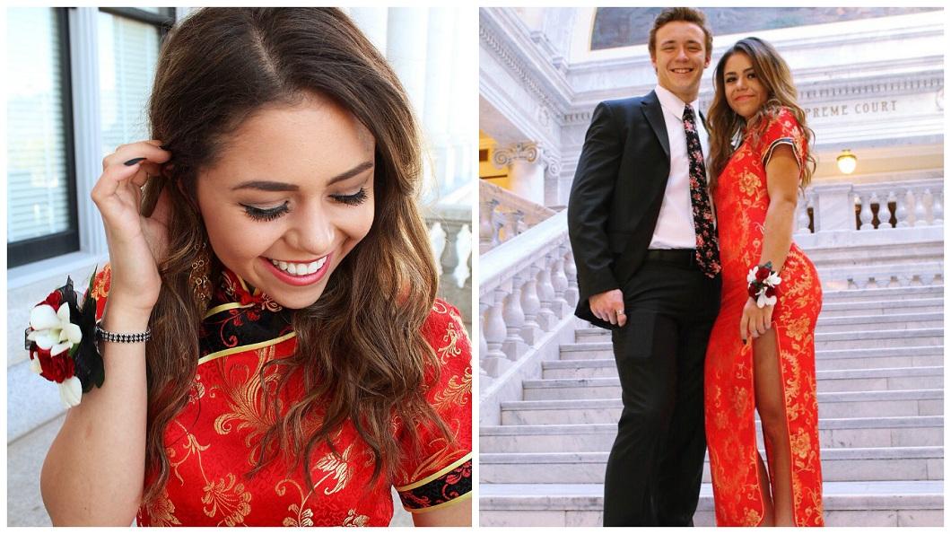 美國一名高中女生在畢業舞會上穿旗袍出席,事後竟被華人網友不理性的辱罵。(圖/翻攝自推特) 美國高中正妹畢業舞會穿旗袍 華人怒罵「文化挪用」