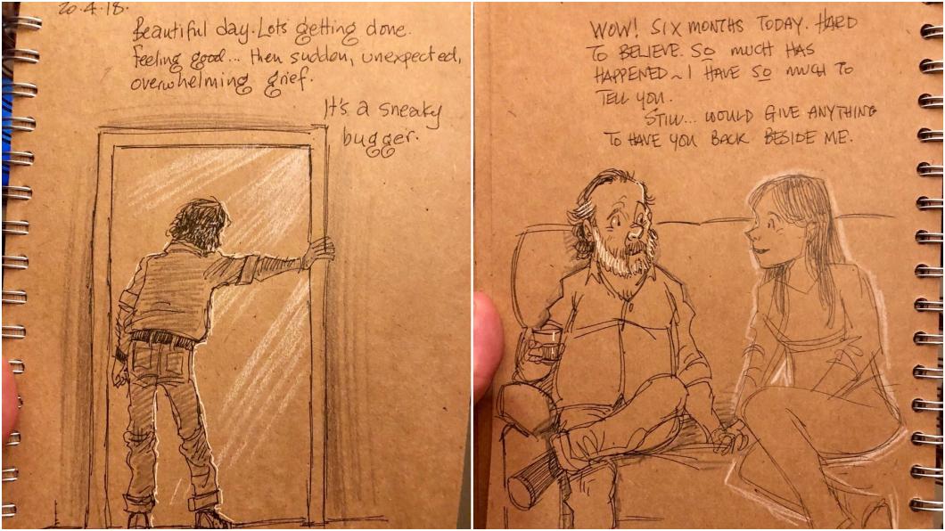 「依然希望能用任何東西,換你回到我身邊。」圖/Gary Andrews 推特 19年妻離世…迪士尼動畫師天天塗鴉撫慰幼子