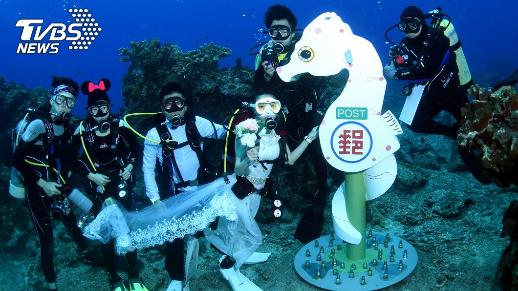 圖/中央社 全球最深海底郵筒 綠島豆丁海馬郵筒啟用