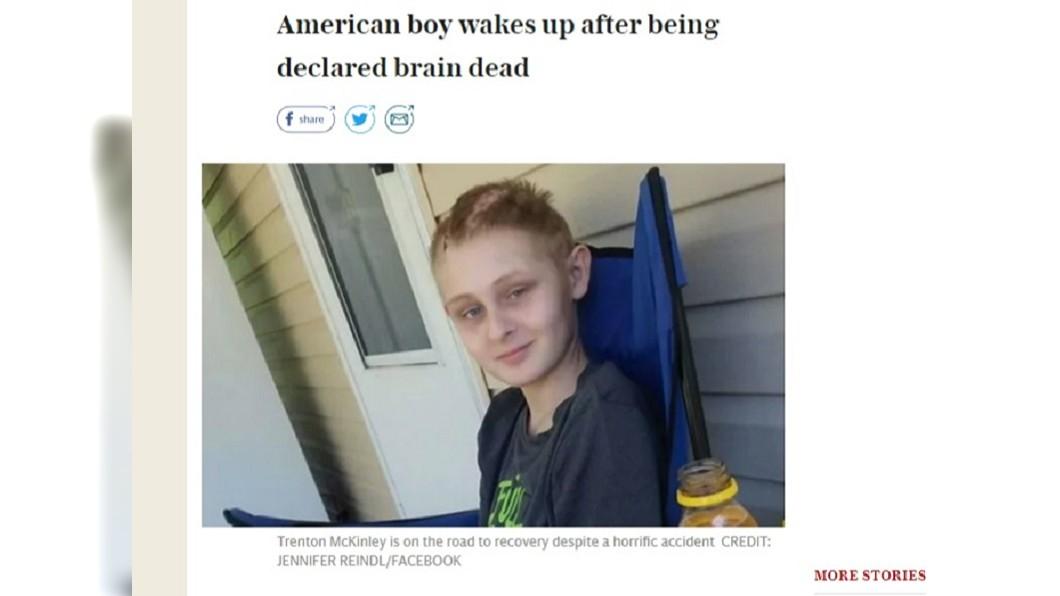 圖/翻攝自Telegraph.co.uk 13歲少年腦部重傷 父母簽同意器捐後突現奇蹟