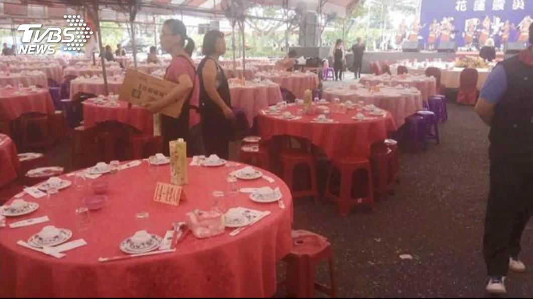 0206震災感恩餐會。圖/TVBS資料畫面 花蓮震災餐會明細公布 竟挪用逾百萬「消防經費」