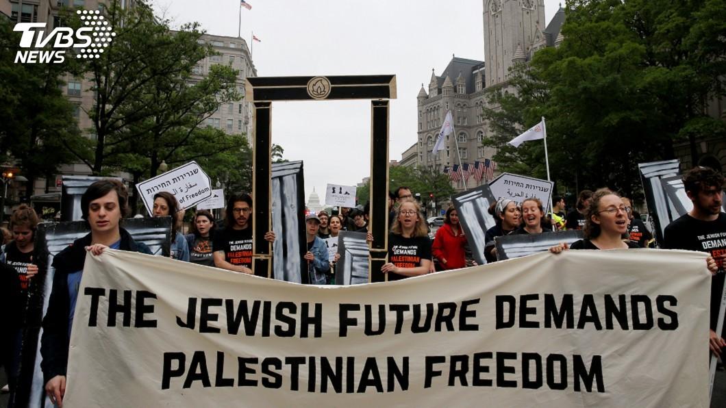 圖/達志影像路透社 反美遷駐以使館 猶太民眾走上華府街頭