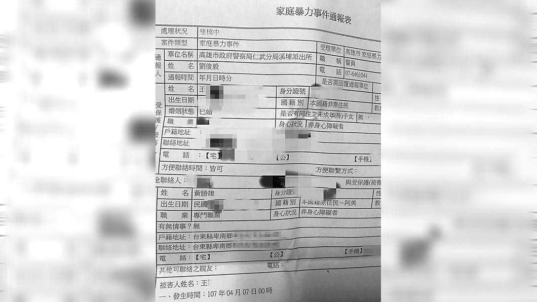 黃勝雄上個月對妻子施暴,當時黃妻向警方報案。(圖/翻攝自《鏡週刊》)