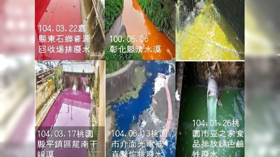有網友把之前台灣的河川汙染照片整合起來,什麼顏色都有,網友諷刺是彩虹河。(圖/翻攝自PTT)
