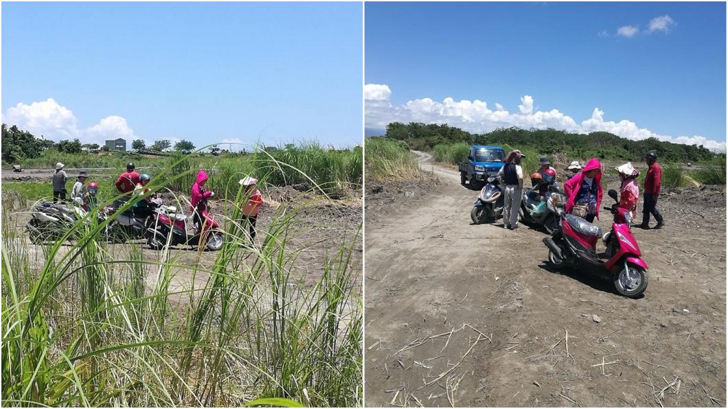 事發後,親友聚集河床尋找阿嬤下落。圖/萬丹鄉代方天仕臉書