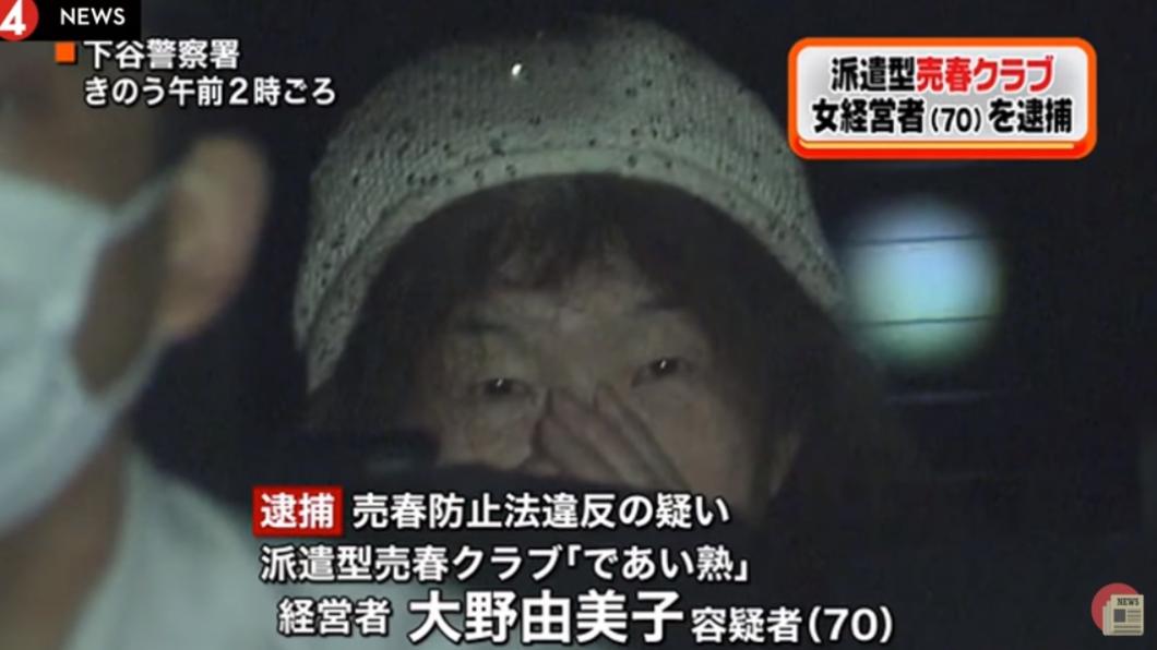 70歲的經營者大野由美子遭逮捕。圖/翻攝自YouTube