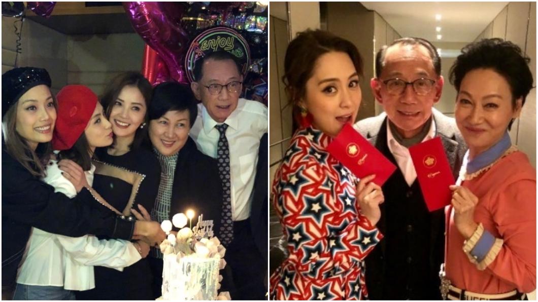 老闆楊受成相當疼阿嬌,連阿嬌的生日派對也不缺席(右圖當中最左邊著白襯衫和左圖中間為老闆楊受成)。圖/翻攝自阿嬌微博