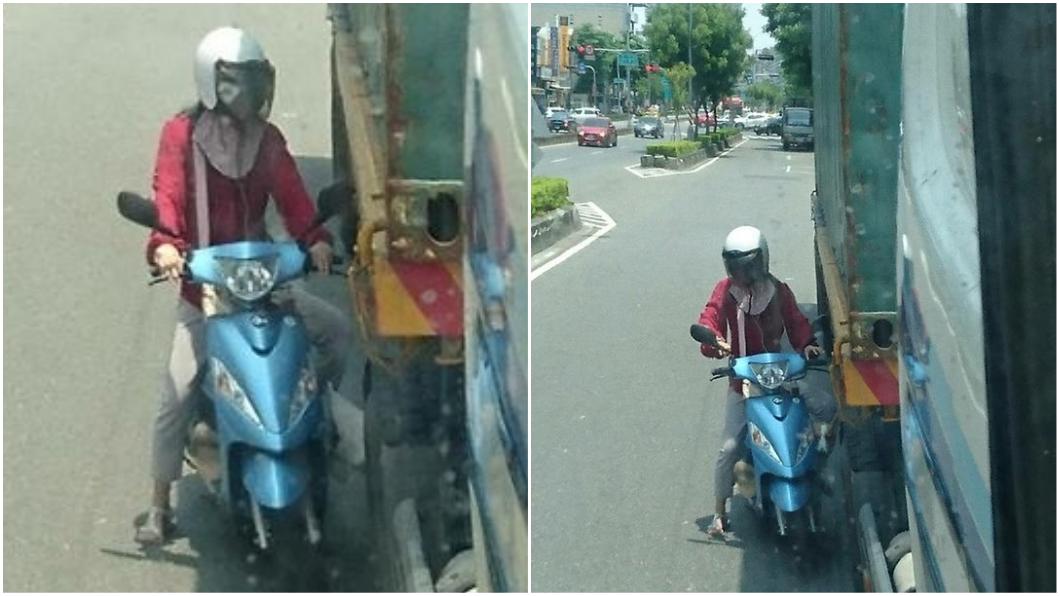 圖/臉書「爆怨公社」社團 女騎士怕曬緊貼大車輪旁 網友酸:想進冰庫乘涼?