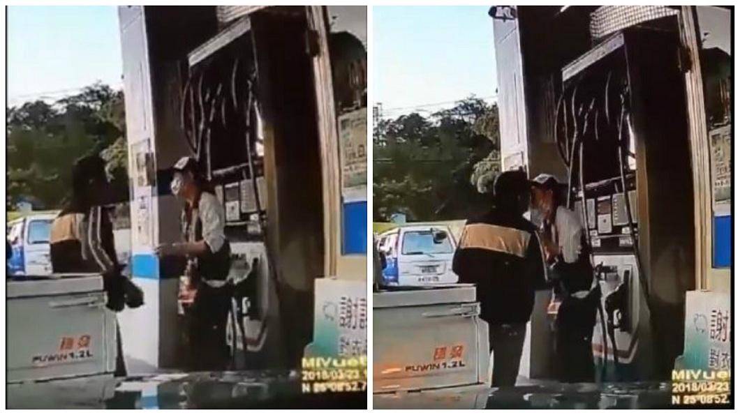 女加油員脫下口罩和男客人親吻,不少男網友笑問:這間在哪?(圖/合成照,翻攝自臉書社團「台灣新聞記者聯盟資訊平台」) 加油滿500送喇舌?馬尾妹扯口罩獻吻 網:我也開車去