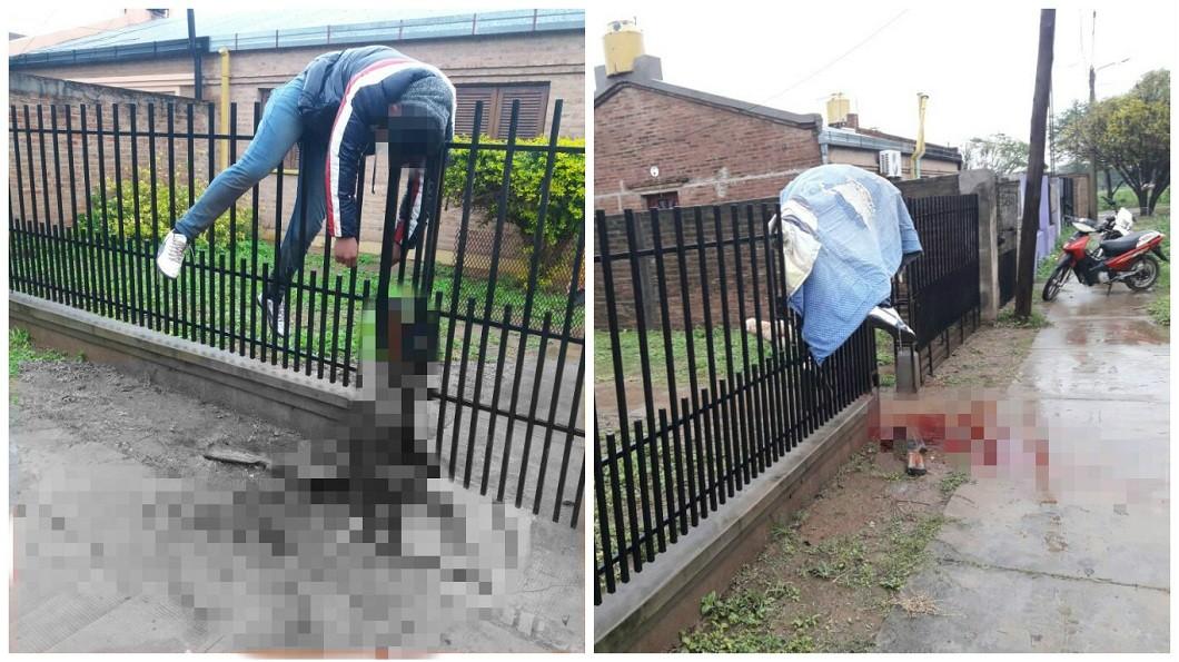 阿根廷一名醋男在翻越欄杆逃亡時疑似不慎誤扣扳機,整個人掛在上面慘死。(圖/翻攝自推特) 轟情敵4槍他沒死 醋男誤扣扳機掛在欄杆亡