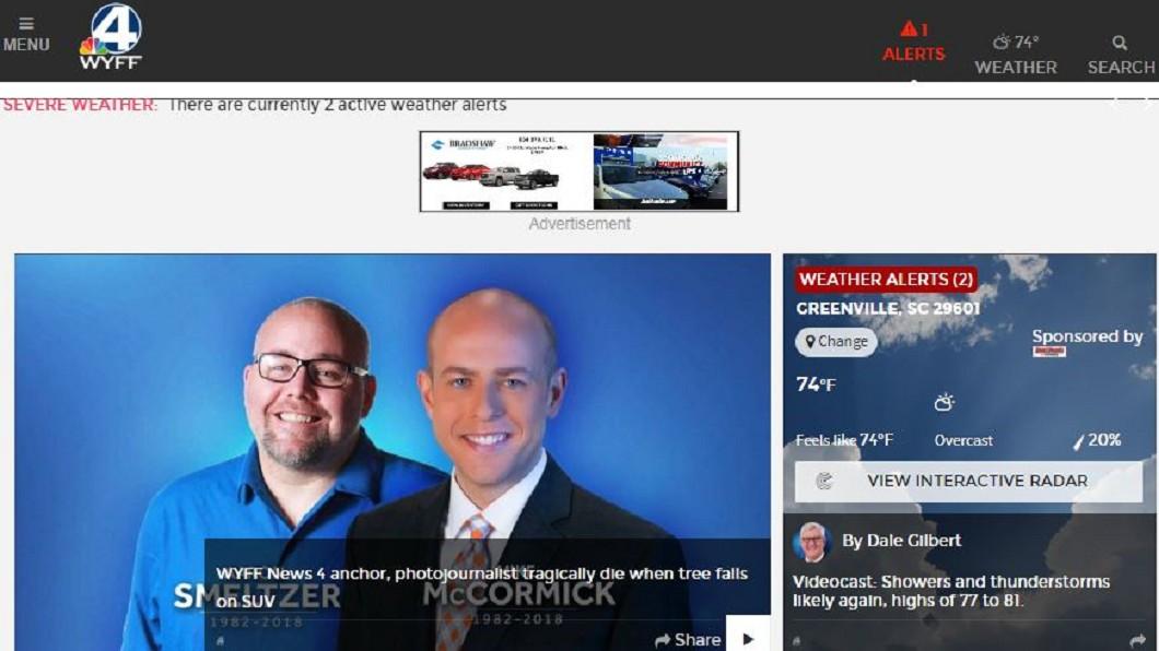 電視台在官網公布2人死訊。圖/翻攝WYFF News4網站 採訪颶風新聞...10分後遭倒塌大樹狠砸 2記者慘死