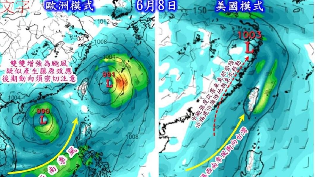 圖/翻攝自臉書「觀氣象看天氣」 將有雙颱夾擊台灣? 氣象專家怒上火線說明了