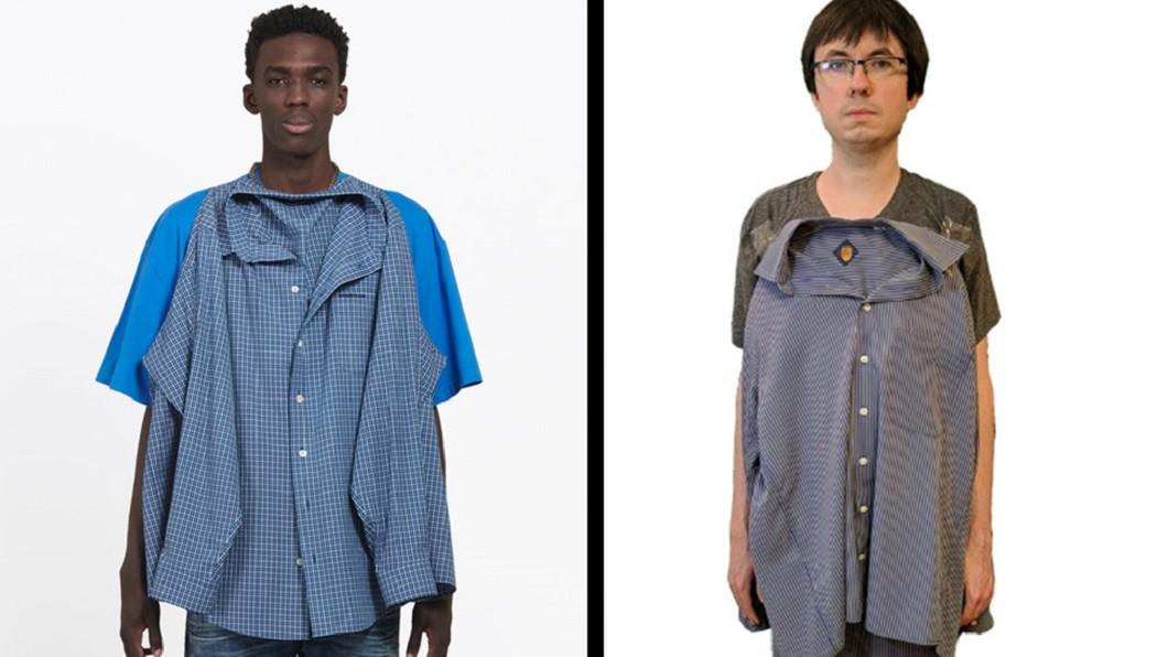 圖左為Balenciaga最新推出秋季男裝上衣,圖右為網友自製。圖/翻攝官網與Twitter「AH_Mike」 猜猜哪件3.8萬?時裝品牌推「T恤+襯衫」網友戰翻