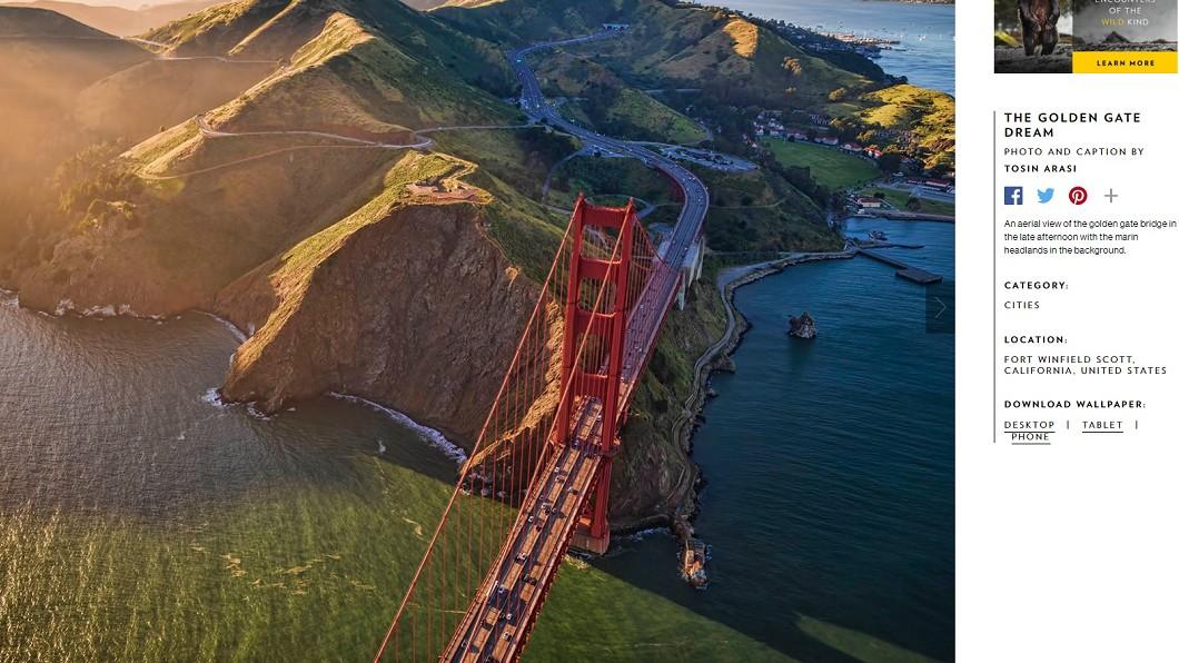 舊金山的金門大橋。圖/翻攝自國家地理網站