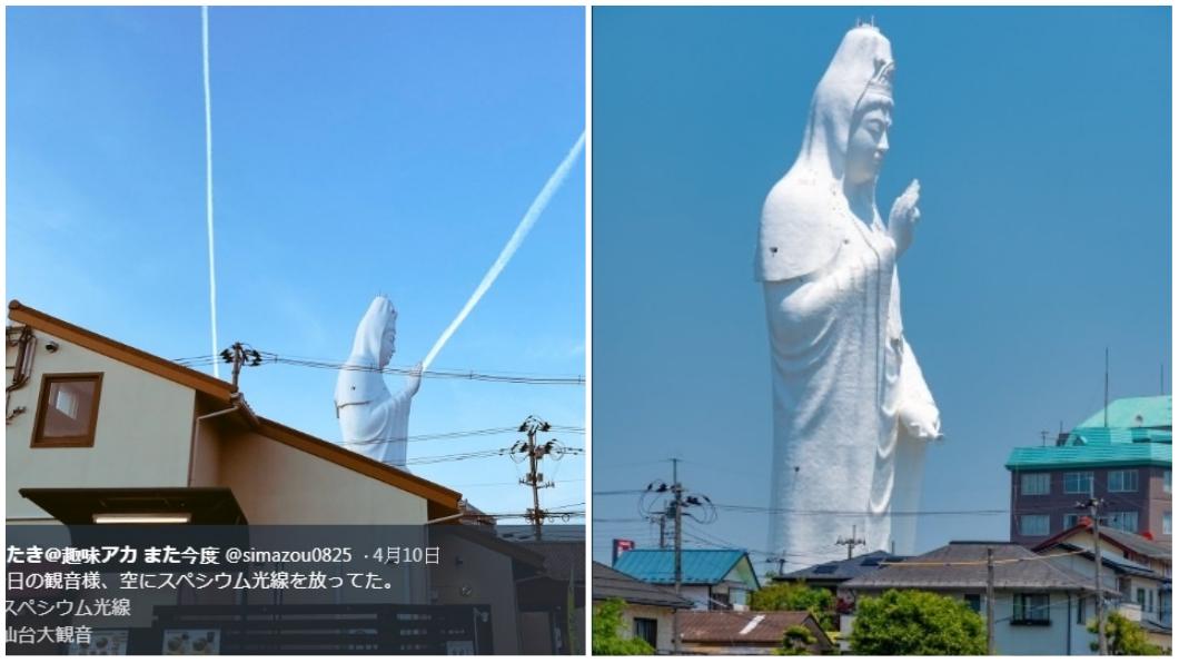 圖/翻攝自Twitter 日本驚見「觀音降世」顯神蹟?天空發射白色光束超震撼
