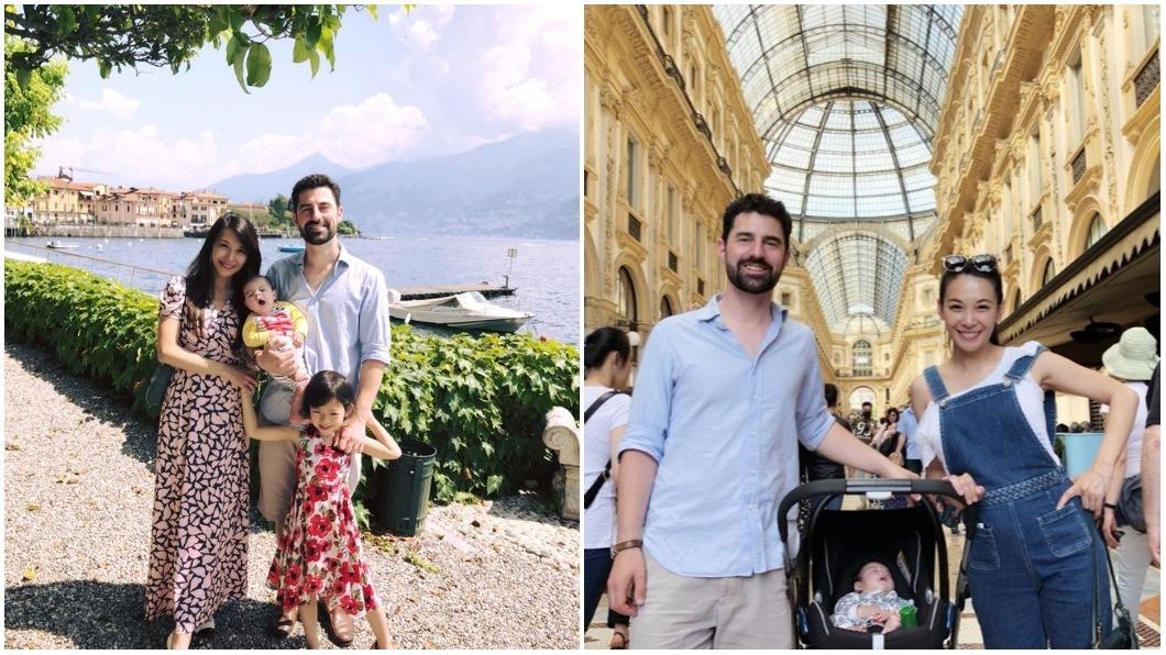 艾莉絲全家人一同到義大利旅遊。圖/翻攝自艾莉絲臉書 艾莉絲攜家人同遊義大利 混血兒神複製英國爸