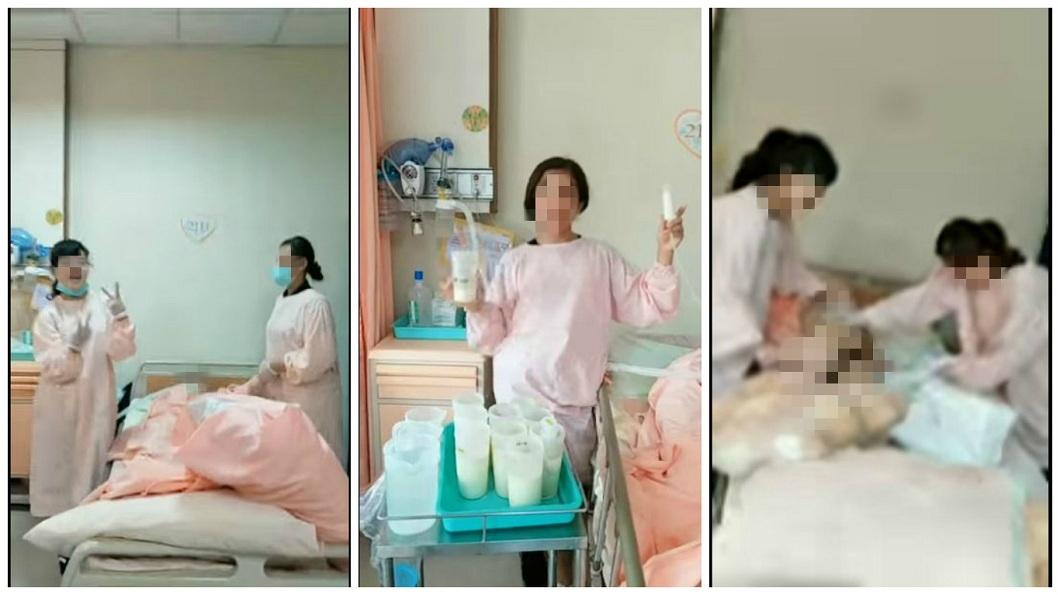 外籍看護不注重病人隱私,過程還嬉笑讓病患臀部露出。(圖/翻攝自爆料公社)