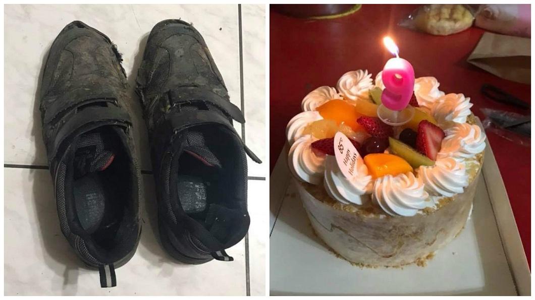 單親父不顧自己的鞋子已經破損,堅持要幫9歲的大兒子買生日蛋糕慶祝,還說自己苦一點沒關係,讓許多網友十分感動。(圖/翻攝自爆料公社臉書粉絲團) 單親爸穿破鞋買蛋糕慶生 兒願望:爸爸換新鞋