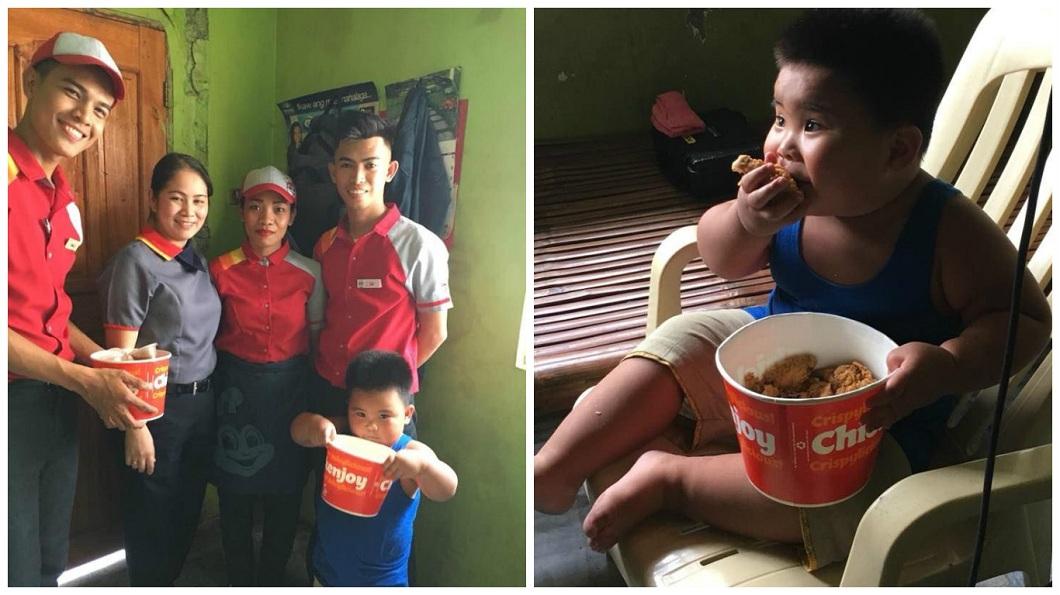 最後店家親自送上兩桶炸雞,讓小胖弟大吃特吃。(圖/翻攝自臉書)